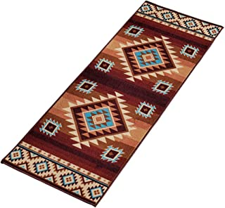 Collections Etc Colorful Southwest Aztec Print, Skid-Resistant Rug, 22