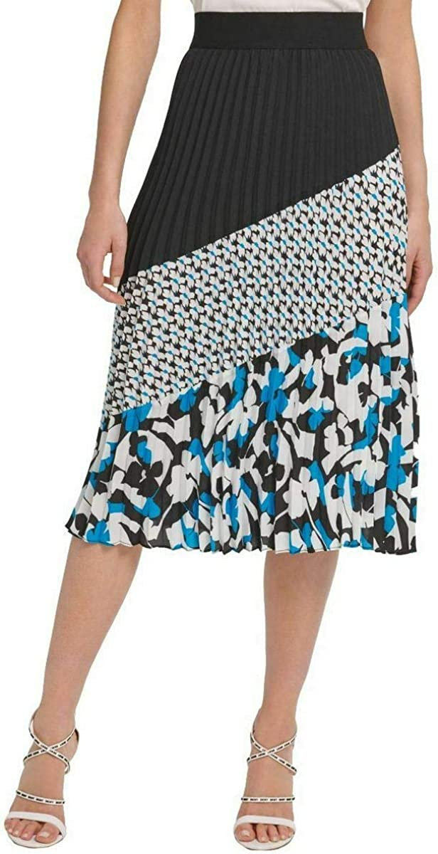 DKNY Womens Colorblock Print Pleated Skirt