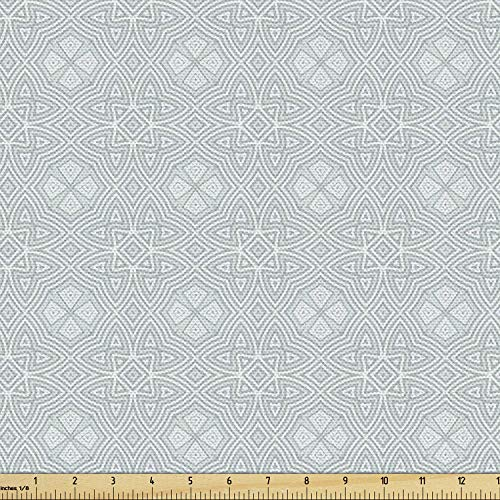 Ambesonne Celtic Fabric by The Yard, Pale Colored Square and Star Shaped Original Retro Tribal Celtic Knot Patterns, Decorative Fabric for Upholstery and Home Accents, 3 Yards, Grey Blue