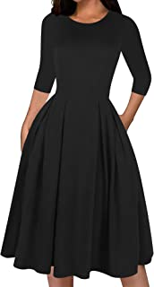 Women's Classic Solid 3/4 Sleeve Cotton Work Dress...