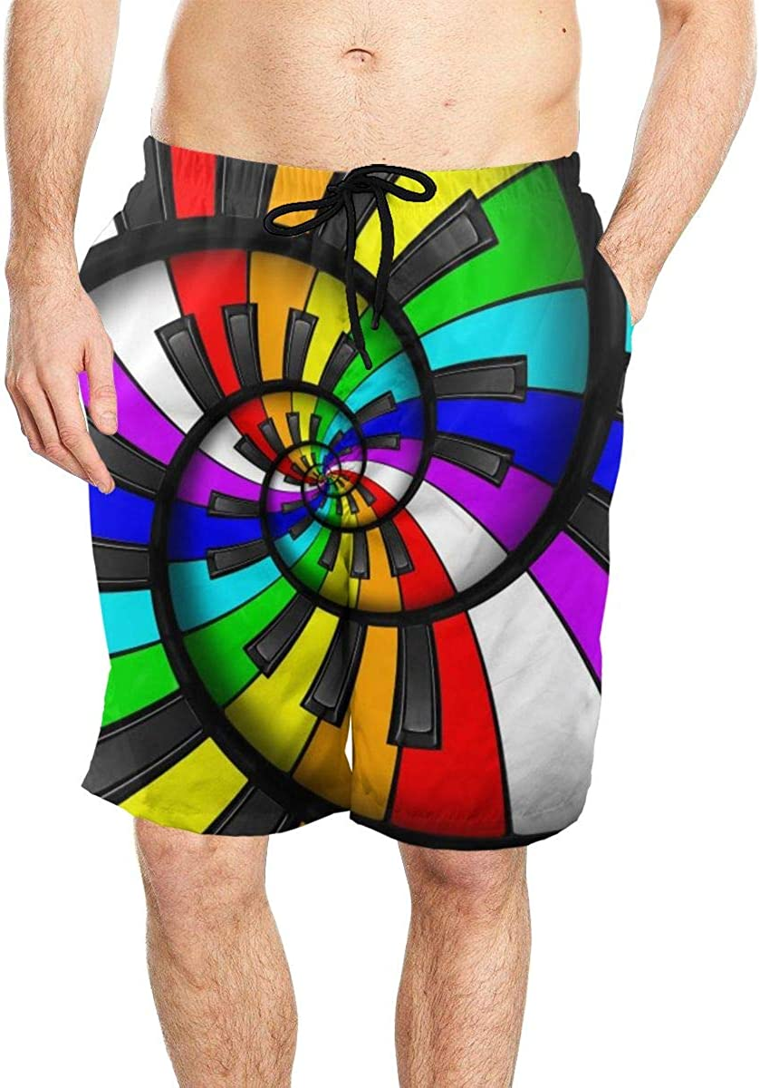DASMUS Rainbow Staircase Piano Keyboard Men Quick Dry Beach Board Shorts Swim Trunks with Mesh Lining