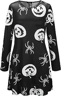 YIBEIANYU European And American Long-sleeved Dress Christmas Skull Pumpkin Print Dress X012