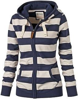 Women Casual Long Sleeve Stripes Hooded Patchwork Pockets Zip up Sports Sweatshirt Plus Size