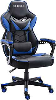 Bonzy Home Game Chair Ergonomic Office Recliner for Computer with Massage Lumbar Support, Racing Style Armchair PU Leather E-Sports Gamer Chairs (Blue) …