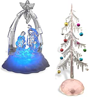BANBERRY DESIGNS Lighted Nativity Scene and Christmas Tree Set - Tabletop Xmas Decoration - LED Color Changing Lights and Battery Operated