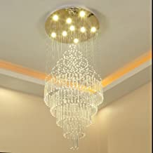 LED Long Chandelier Modern Style Double Staircase Restaurant Crystal Light Size 40x100cm