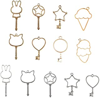 Key Open Bezel, DyAiPet 13Pcs Magic Wand Open Bezel Charm, Blank Frame Pendant for UV Resin Crafts, DIY Jewelry Making (Silver & Gold)