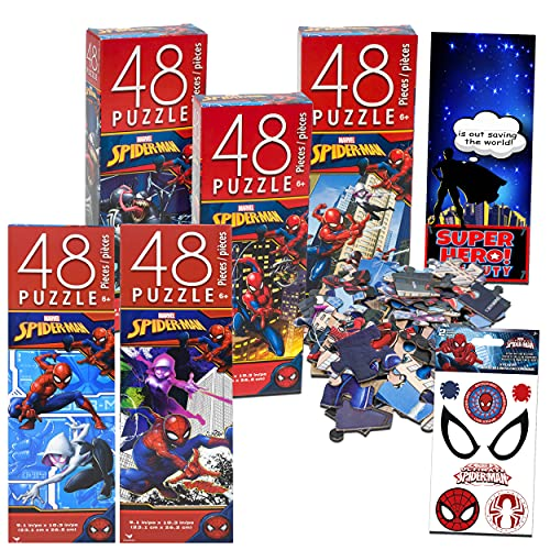 Marvel Spider-Man Jigsaw Puzzle Mega Bundle ~ 5 Marvel Spiderman Puzzles for Kids | Featuring Spiderman, Green Goblin, Venom Jigsaw Puzzle and More with Stickers (Spiderman Toys and Games)