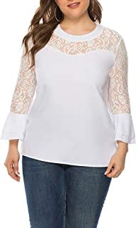 Leomodo Plus Size Lace Pullover Round Collar Flare Sleeve Fashionable Women Top