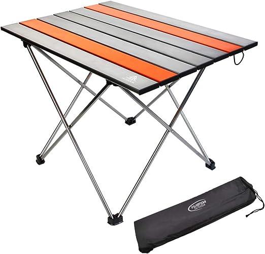 YTR OUTDOOR Mesa plegable de aluminio para camping, mesa auxiliar con bolsa de transporte para camping, exterior, picnic, barbacoa, senderismo, ...