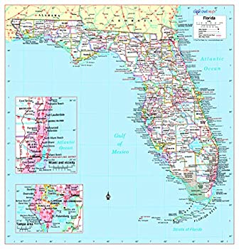 Cool Owl Maps Florida State Wall Map Poster Rolled  Laminated 30 Wx31 H