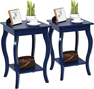 "Giantex End Table 16"" W/Storage & Shelf Curved Legs Home Furniture for Living Room Accent Sofa Side Table Nightstand (2, Blue)"
