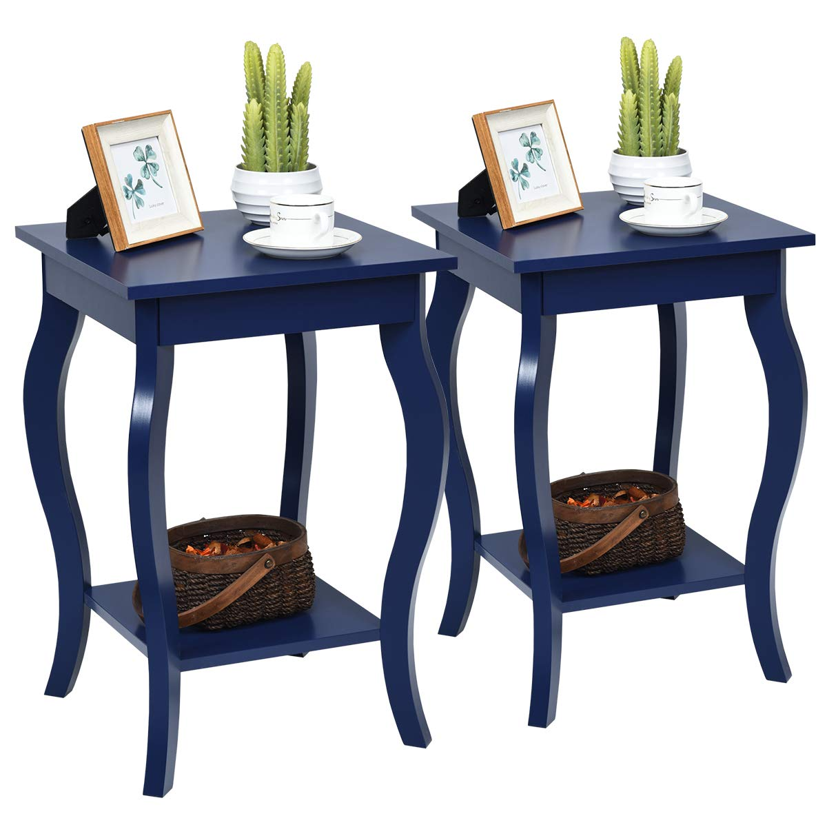 """Amazon.com: Giantex End Table 16"""" W/Storage & Shelf Curved Legs Home Furniture For Living Room Accent Sofa Side Table Nightstand (2, Blue): Kitchen & Dining"""