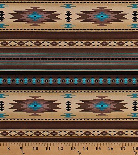 Cotton Southwestern Stripes Native American Aztec Tribal Southwest Brown Turquoise Tucson Sepia Cotton Fabric Print by The Yard (201SEPIA)