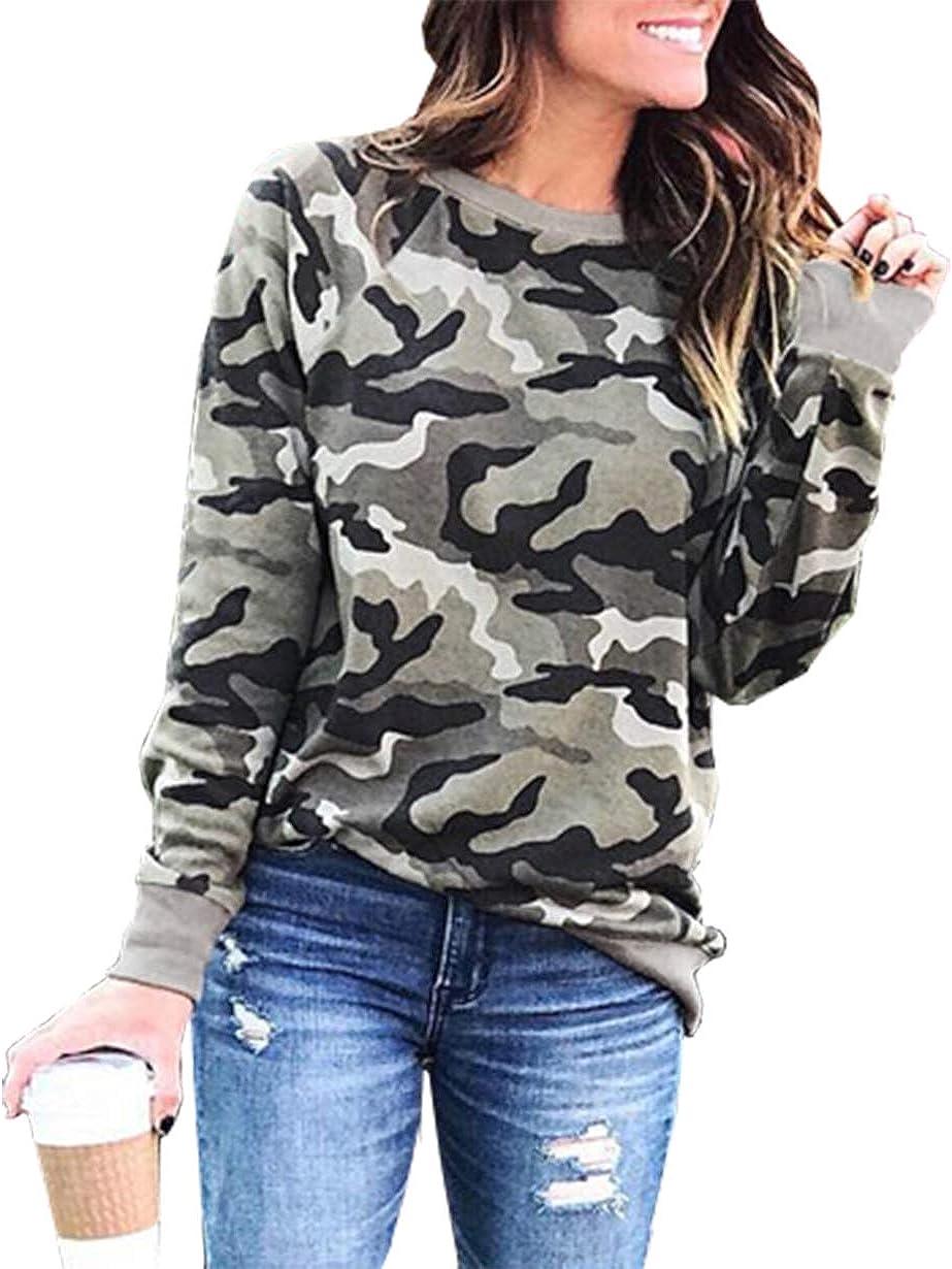 BTFBM Women Sweatshirts Camo Leopard Print Crew Neck Long Sleeve Camouflage Casual Fit Sweatshirt Pullover Tops Shirts