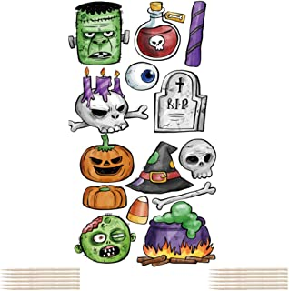 Halloween Cupcake Toppers, Toothpicks Flags Skull Pumpkin Zombie Ghost Witch Food Picks Decor Fiesta Birthday Party Supplies Cake Decorations 14 Pcs
