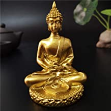 Garden Sculptures & Statues Golden Thailand Buddha Statue Meditation Buddha Sculpture Fengshui Home Crafts Ornaments