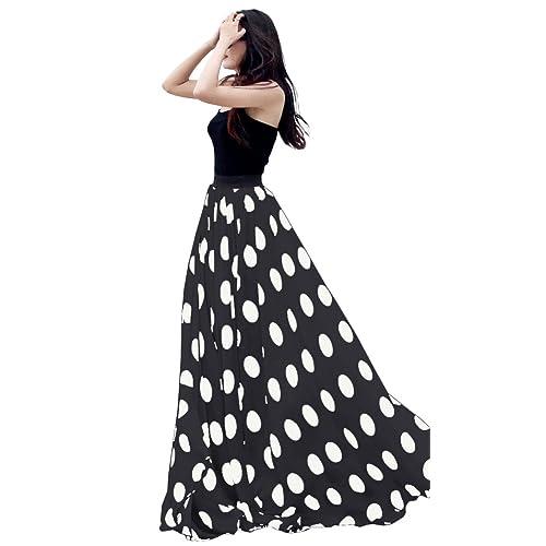 e24d5a7a6e9 Urban CoCo Women s Fashion Chiffon High-Waist Summer Long Maxi Skirt