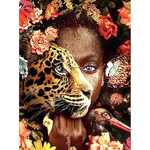Xykhlj para adultospintura por numeros - Animal Flor Retrato de Mujer Africana - Lienzo preimpreso - Principiantes para Niños y Adultos - Pinturas Decoraciones para el Hogar - 40x50cm - Sin Marco