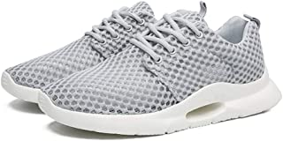Shangruiqi Fashion Sneakers for Men Perforated Walking Sport Shoes Lace Up Round Toe Anti-Slip Breathable Lightweight Anti-Wear (Color : Gray, Size : 9.5 UK)