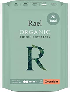 Rael Organic Cotton Sanitary Pads - Overnight Size, Heavy Absorbency, Unscented, Ultra Thin Pads for Women (2 Pack, You ma...