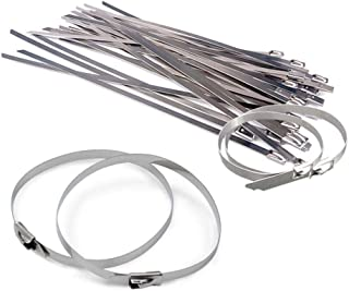 The Elixir 100pcs 11.8 inches (300 x 4.6mm) Stainless Steel Exhause Wrap Coated Self Locking Cable Zip Ties