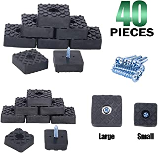 Keadic 80Pcs 22MM 30MM Square Rubber Furniture Pads Non Slip Non Skid Rubber Feet Pad with 40 Pieces Screws for Table, Chair and Sofa Legs Protection - Black