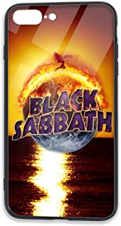 RodneyLRobbins Black Sabbath iPhone 7 Plus Case, iPhone 8 Plus Case, Tempered Glass Back + Soft Silicone TPU Shock Protection Case Cover for iPhone 7/8 Plus