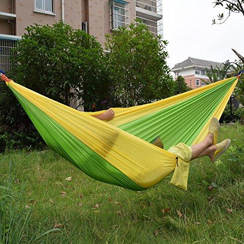 AOAO lumière Hamac léger en Nylon Parachute Tissu Hamac Hamac Y Compris Corde en Acier Boucle pour Camping randonnée, Jaune/Vert