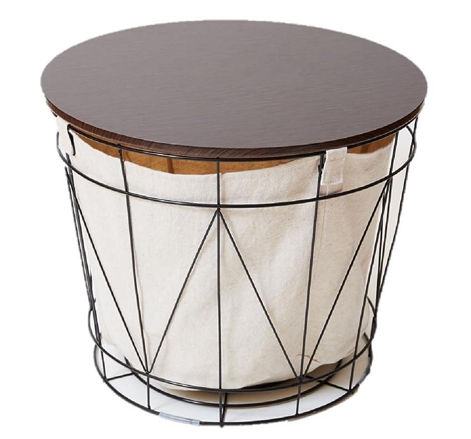 スロベニア信頼性ベッツィトロットウッドテーブル 机 としても使える 万能バスケット ブラック かご 収納テーブル ワイヤーバスケットテーブル