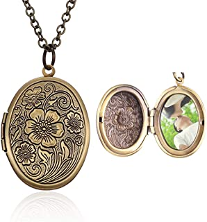 4EAELove Bronze Locket Necklace Open DIY Antique Oval Flower Carved Charm Pendant Picture Locket Necklace