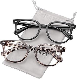 MEETSUN Large Blue Light Blocking Glasses for Women Men Nerd Frame,Anti Eye Strain Computer Glasses for Reading/Gaming