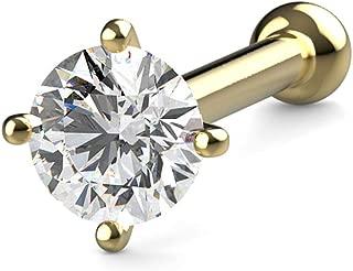 KIMANA Nose Bone Ring Stud 2mm (0.03 Ct) Diamond Yellow Gold 20G