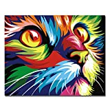 RIHE sans Cadre, Peinture par numéros Peinture à l'huile de Bricolage Peinture à l'huile colorée de Visage de Chat Décoration d'art de Mur d'art