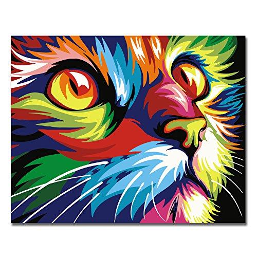 RIHE Senza Telaio, Dipingi con i Numeri della Pittura a Olio Fai da Te Colourful Fronte del Gatto Tela Stampa della Parete di Arte della Decorazione della casa