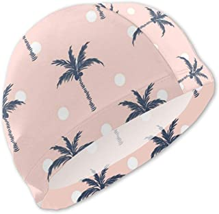 Oasws Boy/Girl Kids Swimming Cap, High Elasticity,Comfortable Swimming Bathing Cap for Short Hair and Long Hair, Palm Trees Pink Polka Dot Retro Style Seamless Vector Image