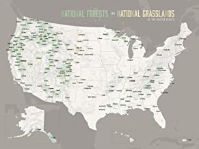 US National Forests Map 18x24 Poster (White & Gray)