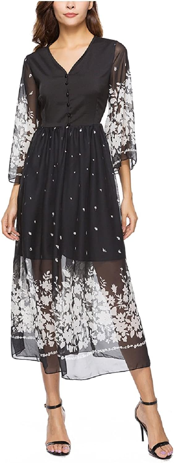 Women V Neck 3 4 Sleeve Casual Bohemian Floral Print Flowy Party Maxi Dresses