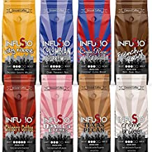 InfuSio Gourmet Ground Coffee, (64oz) Variety Pack, Eight 8oz Bags (Pack of 8) - 4lbs Total - (French Roast/Colombian/City Roast/Costa Rica) With Flavored Blends (Pecan/Chicory/Vanilla/Creme Brulee)