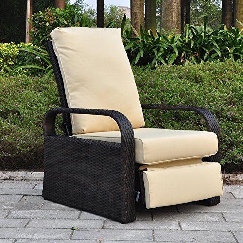 Outdoor Recliner Wicker Patio Adjustable Recliner Chair with 5.11' Cushions and Ottoman,Rust-Resistant Aluminum Frame,All-Weather Resin Rattan, Brown& Khaki