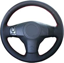 Eiseng Hand Sewing Black Genuine Leather DIY Steering Wheel Cover Wrap for Toyota RAV4 2006 2007 2008 2009 2010 2011 2012 / for 2007-2011 Toyota Yaris Sedan Interior Accessories 15 inches (Red Thread)