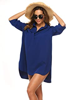 Twinklady Women's Beach Swimwear Cover Up Button V Neck Shirt Bikini Beachwear Dress Bathing Suit Blouse