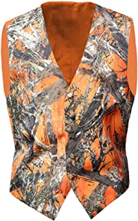 Camo Vests for Men Orange Formal Vest Wedding Groom, Casual, Hunting