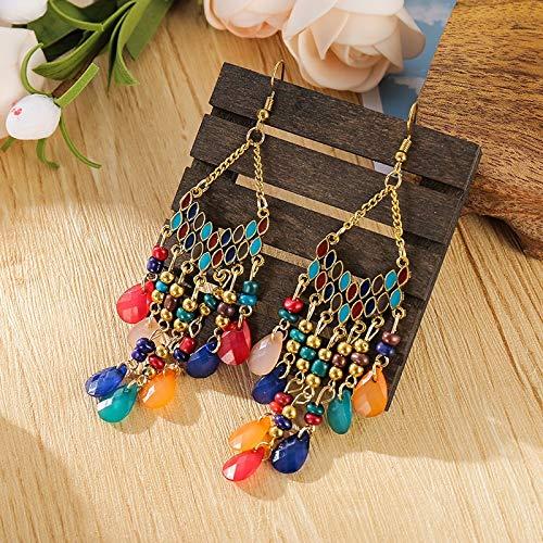 feilai Pendientes largos de perlas de cristal estilo étnico clásico de moda sector 2020 (metal color: estilo 3)