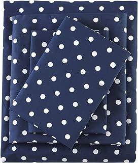 Mi Zone Polka Dot Printed 100% Cotton Percale Cute Ultra Soft Sheet Set Bedding, Twin, Indigo 3 Piece