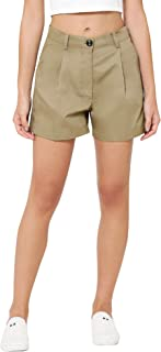 Martini Women Khaki Green Pintucks Cotton Shorts
