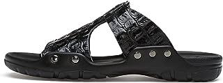Casual Men Sandals Slides Men Rivet Beach Sandals Crocodile Embossed Split Leather Flip Flop