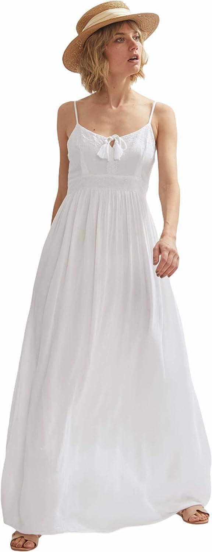 Shuuk White Embroidered Viscose 送料無料激安祭 Exquisite 期間限定で特別価格 Dress-Romantic Maxi