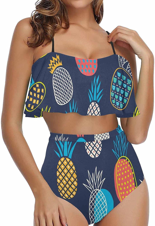 InterestPrint Womens Over item handling Flounce Bikini Top Waisted Swimsuit Ba Max 57% OFF High