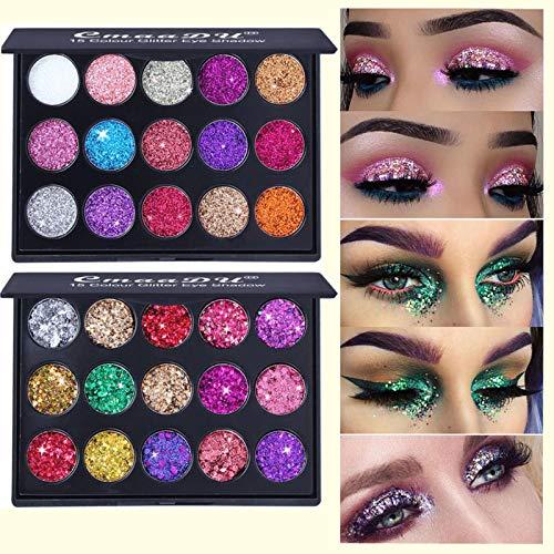 Glitter Eyeshadow Makeup Palette Set, COOSA High Pigment 30 Colors Shimmer Eyeshadow Makeup Palette Sweat Proof Long Lasting Eye Shadow Powder (2pcs)